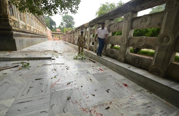 Blood stains seen on the Mahabodhi Temple premises. Two monks were injured in the incident. PTI