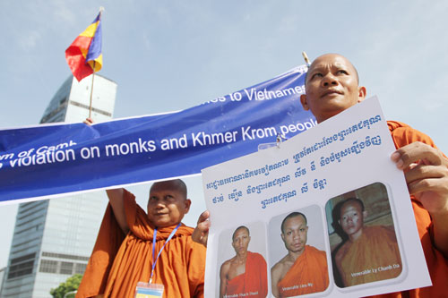 Kampuchea Krom monks and supporters demonstrate against the Vietnamese government and appeal to the international community at Freedom Park in Phnom Penh last week. Photograph: Pha Lina/Phnom Penh Post