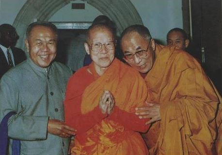My master Maha Ghosananda [center] and Dalai Lama